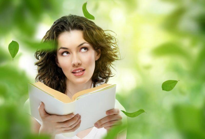 обучаемся, девушка читает книгу