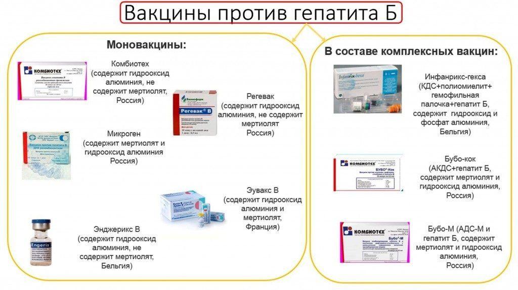 Вакцинация от гепатита В. Виды препаратов