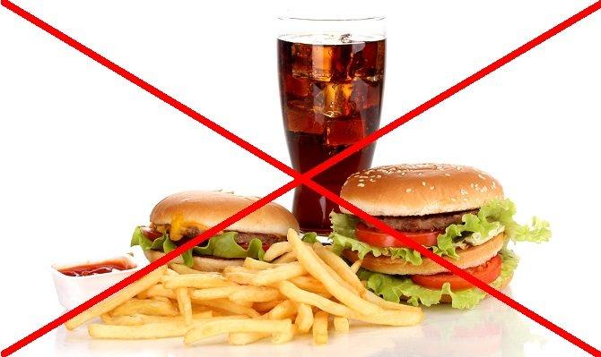 Отказ от жареных продуктов и выпечки.