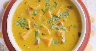 Жареный красный перец и суп из батата
